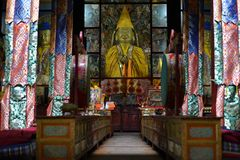 Tibetan Buddhist Temple Interior Stock Photo
