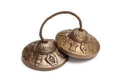 Tibetan Buddhist tingsha cymbals isolated Royalty Free Stock Photos