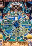 Tibetan Buddhist Wheel of Life mandala painted on wall in the Punakha Dzong. Painting of the wheel of life at the Buddhist temple in the Punakha Dzong Royalty Free Stock Photos
