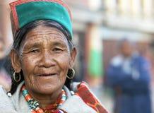 Kathmandu, Nepal, Buddhist woman at Boudhanath Stupa temple Royalty Free Stock Image