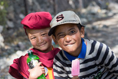 Tibetan Buddhist young children in Hemis monastery, Ladakh, North India Stock Images