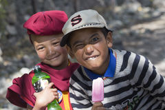 Tibetan Buddhist young children in Hemis monastery, Ladakh, North India Stock Photography