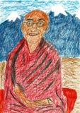 Tibetan buddistisk munk i Himalayaen arkivbild