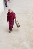 Tibetan buddistisk ung munk i kloster av Lamayuru, Ladakh, Indien Arkivbilder
