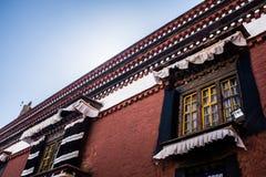 Tibetan Building style. A corner of Tibetan building in Dazhao Teple Stock Photos