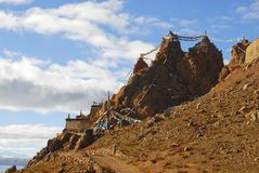 A tibetan castle on mountain Royalty Free Stock Images
