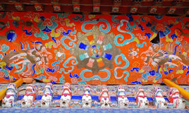 Tibetan ceiling painting. Ceiling painting in Sera Monastery, Tibet stock photos