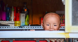 Tibetan child at home Stock Photography