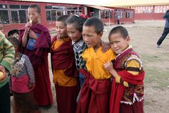 Tibetan child monks smiling to the camera. Taken in Amdo Tibet, China - March 2015 Stock Image