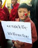 Tibetan Child Uprising Day Dharamsala India. A Tibetan youth holding a sign bearing political slogans written in Tibetan Uchen script during Uprising Day Stock Photo