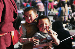 Tibetan children. A Tibetan boy with his brother Royalty Free Stock Photography