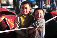 Tibetan children. A Tibetan boy with his brother Royalty Free Stock Image