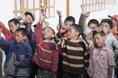 Tibetan children singing Stock Images