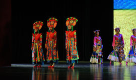 """Tibetan costumes girls-Large scale scenarios show"""" The road legend"""". The drama about a Han Princess and king of Tibet Song Xan Gan Bbu and the story Stock Photos"""