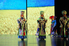 """Tibetan costumes girls-Large scale scenarios show"""" The road legend"""". The drama about a Han Princess and king of Tibet Song Xan Gan Bbu and the story Stock Photography"""