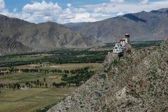 Tibetan  countryside. Farmland and YUMBU LAKANG in Lhoka,Tibet.YUMBU LAKANG was the first palace in Tibetan history,and Lhoka was the  birthplace of Tibetan Stock Images