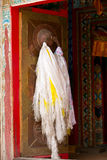 Tibetan door with hada scarf Royalty Free Stock Photos