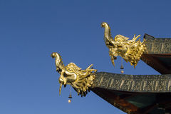 Tibetan Dragon style on temple roof, Shangrila ,China Royalty Free Stock Photos