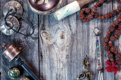 Tibetan ethnic objects for meditation and relaxation royalty free stock photo