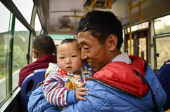 Tibetan father and baby Royalty Free Stock Photography