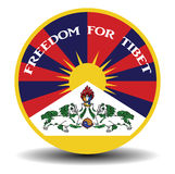 Tibetan flag banner with shadow and text freedom for the tibet Royalty Free Stock Images