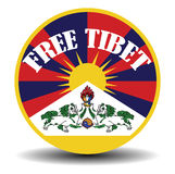 Tibetan flag banner with shadow and text freedom for the tibet Royalty Free Stock Photo