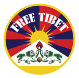 Tibetan flag banner with sign free tibet Stock Images