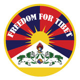 Tibetan flag banner with sign freedom for tibet Stock Photos