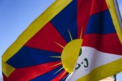 Tibetan Flag. Boston, Massachusetts USA - March 2013 - Tibet flag in wind during the Boston Free Tibet march through the Boston Common Stock Image
