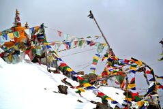 Tibetan flag at Khardungla Pass Royalty Free Stock Image