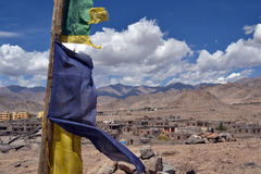 Tibetan flag with mantras on the wind. Tibetan flag with mantras, India, Himalayas royalty free stock photography