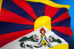 Tibetan flagga - flagga av fria Tibet Arkivfoton