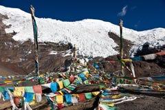 Tibetan flags. Tibetan pray flags on the Himalayas Stock Images