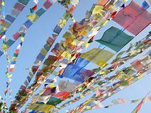 Tibetan flags. Prayer Tibetan flags hang along stupa, Nepal Stock Photography