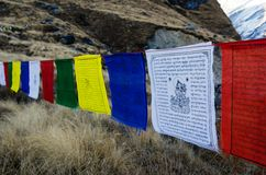 Tibetan Flags at ABC route,Nepal Stock Photo