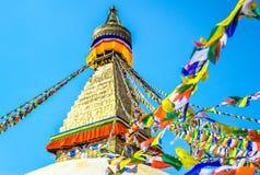 Tibetan flags in Boudhanath Stupa, Nepal Royalty Free Stock Photo