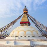 Tibetan flags in Boudhanath Stupa Royalty Free Stock Image