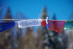 Tibetan flags with clothes peg Royalty Free Stock Photography