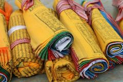Tibetan flags. Colored Tibetan flags are rolled up together Royalty Free Stock Photo