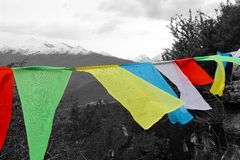Tibetan flags. Colored Tibetan flags are waving on top of a mountain Stock Photography