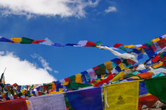 Tibetan flags at Khardungla Pass (The highest road in the world), Royalty Free Stock Photo