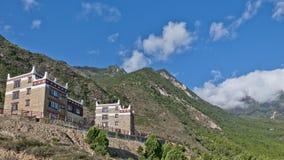 Tibetan folk houses. On a hill Royalty Free Stock Photos