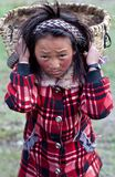 Tibetan girl with basket Stock Image