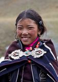 Tibetan girl in Dolpo, Nepal royalty free stock photography