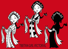 Tibetan girl, silouette Vectorial Royalty Free Stock Image