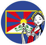 Tibetan girl with tibetan flag Stock Image