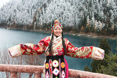 Tibetan girl in traditional clothing Stock Image