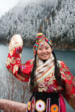 Tibetan girl in traditional clothing Royalty Free Stock Photo