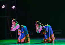 Tibetan girl Zhuoma-The national folk dance Stock Images