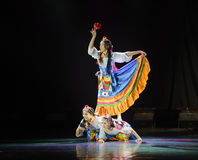 Tibetan girl Zhuoma-The national folk dance Stock Photography